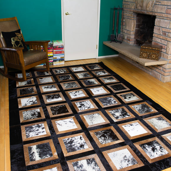 Portrait Black - Handmade Animal Hide Area Rug - 6' x 9'