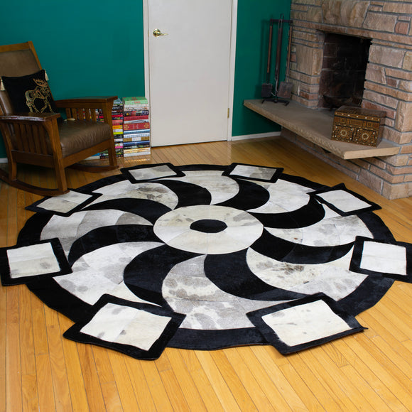 Propeller Black - Handmade Animal Hide Area Rug - 8' Round