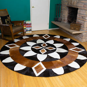 Diamond Sun - Handmade Animal Hide Area Rug - 8' Round - The Loom