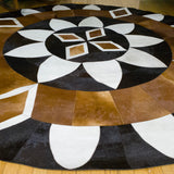 Diamond Sun - Handmade Animal Hide Area Rug - 8' Round