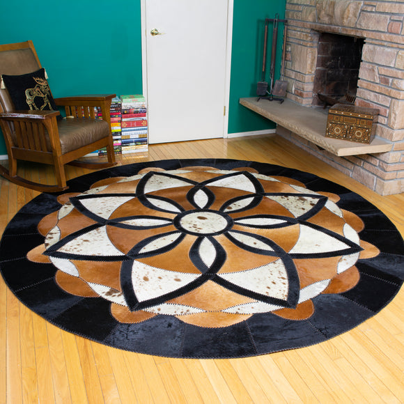 Eden - Handmade Animal Hide Area Rug - 8' Round - The Loom