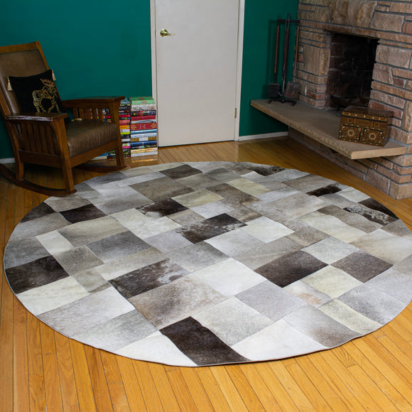 Patchwork Gray - Handmade Animal Hide Area Rug - 8' Round - The Loom