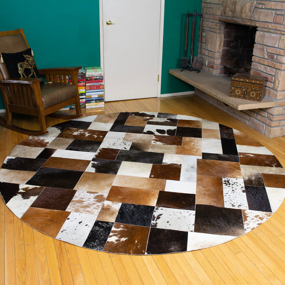 Patchwork - Handmade Animal Hide Area Rug - 8' Round