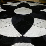 Forget-me-not Black - Handmade Animal Hide Area Rug - 8' Round - The Loom