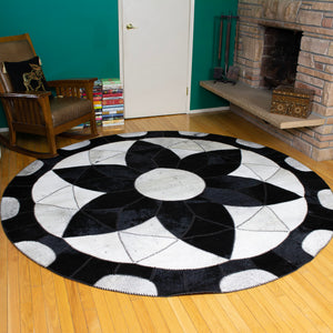 Forget-me-not Black - Handmade Animal Hide Area Rug - 8' Round