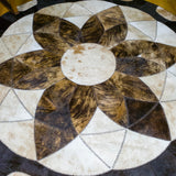 Forget-me-not Brown - Handmade Animal Hide Area Rug - 8' Round