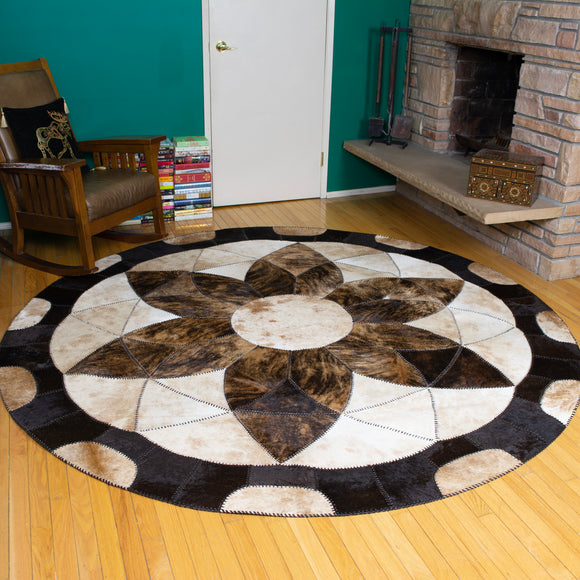 Forget-me-not Brown - Handmade Animal Hide Area Rug - 8' Round - The Loom
