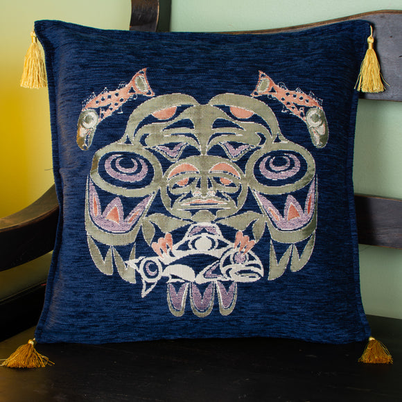 blue color fisherman design decorative pillow cover with tassels