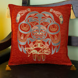 cinnamon color fisherman design decorative pillow cover with tassels