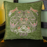 green color fisherman design decorative pillow cover with tassels
