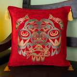 red color fisherman design decorative pillow cover with tassels