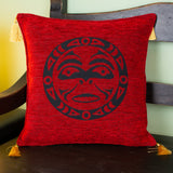 red color native moon design decorative pillow cover with tassels