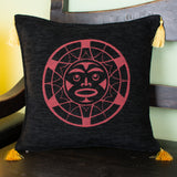 black and red color native sun design decorative pillow cover with tassels