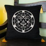 black and white color native sun design decorative pillow cover with tassels