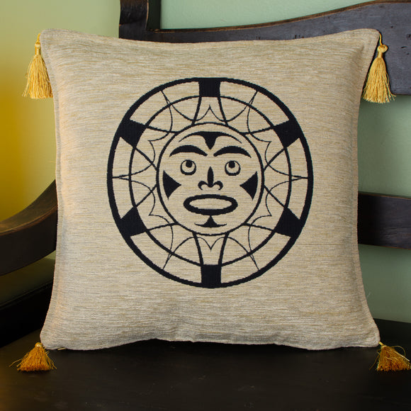 gold color native sun design decorative pillow cover with tassels