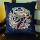 blue color raven design decorative pillow cover with tassels