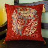 cinnamon color raven design decorative pillow cover with tassels