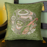 green color raven design decorative pillow cover with tassels