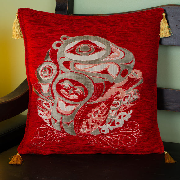 red color raven design decorative pillow cover with tassels
