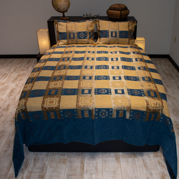 blue color rooster design decorative bedspread set