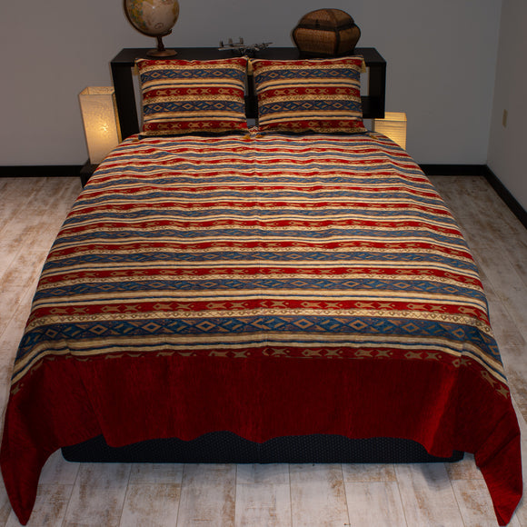 berry color salmon stream design decorative bedspread set
