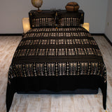 black color wheat harvest design decorative bedspread set