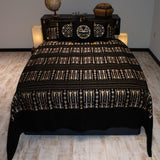 black color wheat harvest design decorative bedspread set with pillows