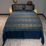 blue color wheat harvest design decorative bedspread set