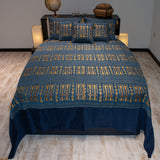 blue color wheat harvest design decorative bedspread set with pillows