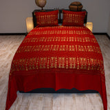 red color wheat harvest design decorative bedspread set
