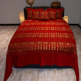 red color wheat harvest design decorative bedspread set with pillows
