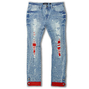 F1745 Shredded jeans w/ Cord Layer - Light wash