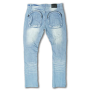 F1769 Denim Jeans w/ Shredded Damages | 32-inch Inseam - Light Wash