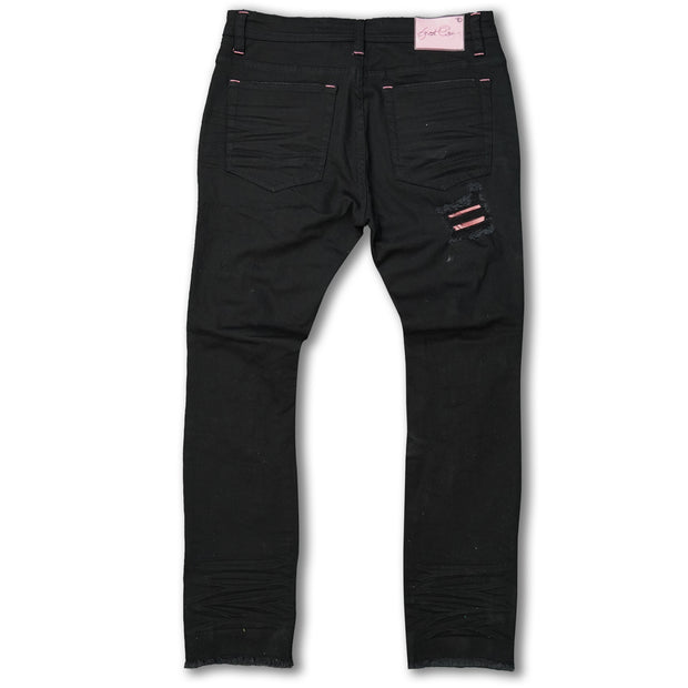 F1745 Shredded jeans w/ Cord Layer - Black