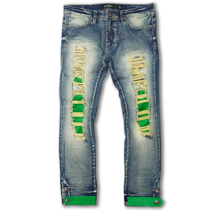 F1745 Shredded jeans w/ Cord Layer - Dirt