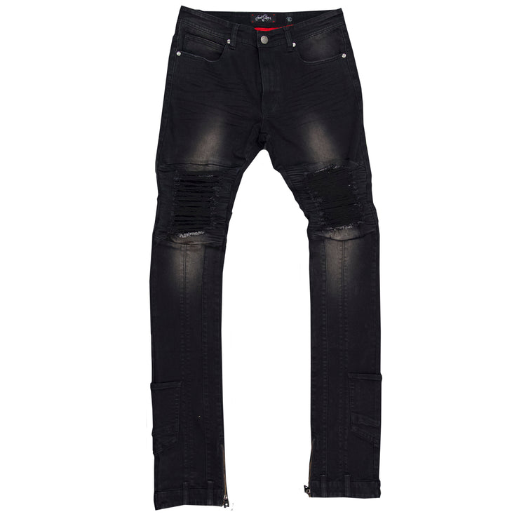 F1748 Shredded Biker Denim Jeans w/ Bottom Leg Zipper | 40-inch Inseam - Black
