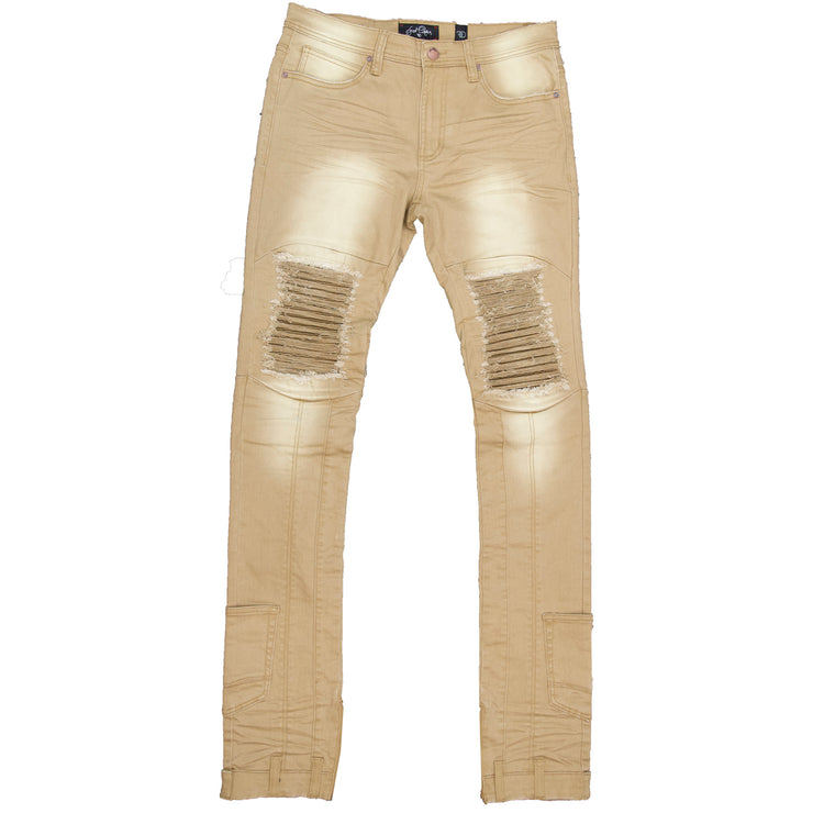 F1748 Shredded Biker Denim Jeans w/ Bottom Leg Zipper | 40-inch Inseam - Khaki
