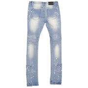 F1748 Shredded Biker Denim Jeans w/ Bottom Leg Zipper | 40-inch Inseam - Light Wash
