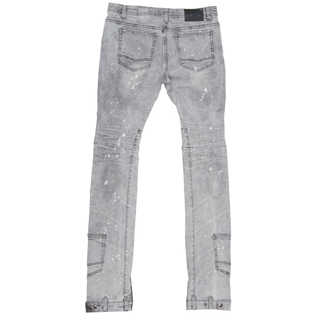 F1748 Shredded Biker Denim Jeans w/ Bottom Leg Zipper | 40-inch Inseam - Gray