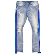 F1782 Shredded Jeans w/ Drawstring Side Tape - Light Wash