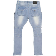 F1785 Denim Biker Jeans w/ Cargo Pockets - Light Wash