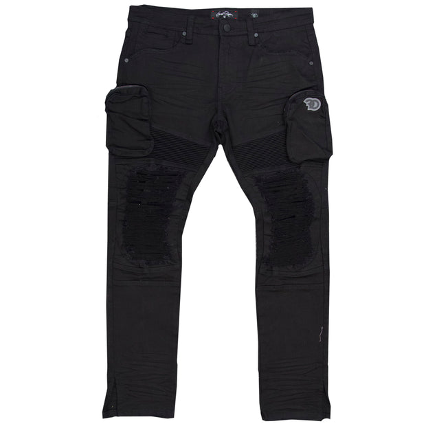 F1785 Denim Biker Jeans w/ Cargo Pockets - Black/Black