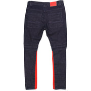 F1738 Denim Jeans w/ Contrast Knitting - Raw Indigo