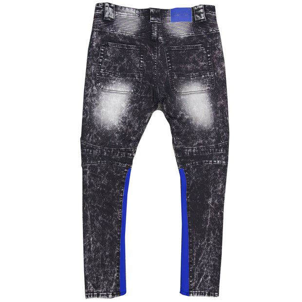 F1738 Denim Jeans w/ Contrast Knitting - Black Wash