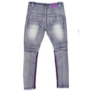 F1738 Denim Jeans w/ Contrast Knitting - Light Wash