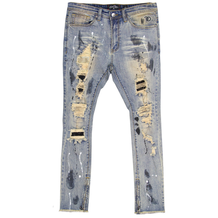F1756 Denim Jeans w/ Rhinestones & Bottom Leg Zipper - Light Wash/Black