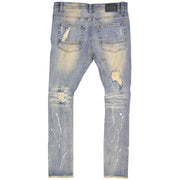 F1756 Denim Jeans w/ Rhinestones & Bottom Leg Zipper - Dirt