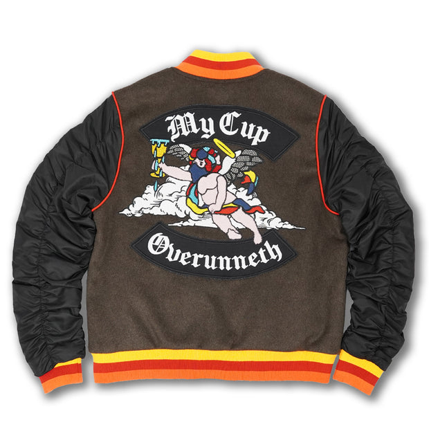 F1085 My Cup Overunneth Wool Varsity Jacket - Black