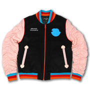 F1085 My Cup Overunneth Wool Varsity Jacket - Salmon