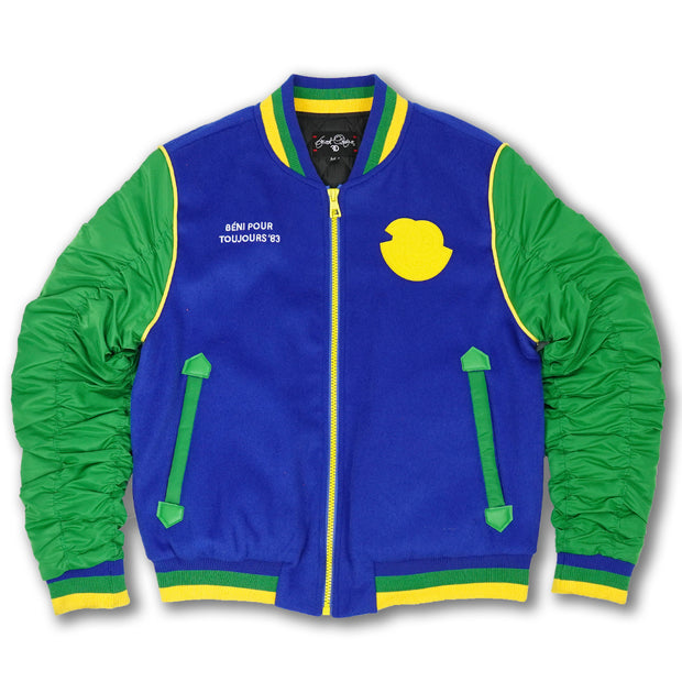 F1085 My Cup Overunneth Wool Varsity Jacket - Green